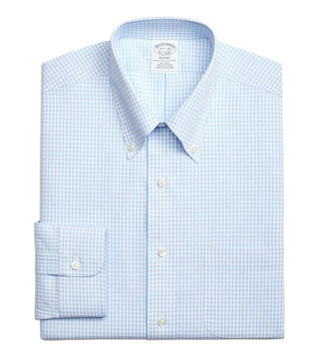 68f7f5075f2 Brooks Brothers. Brooks Brothers Light Blue Regent Fit Gingham Dress Shirt  ...