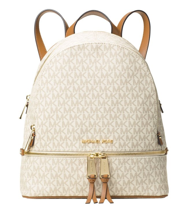 eea7bd678669 Added to Bag. MICHAEL Michael Kors Logo Rhea Zip Vanilla Small Backpack