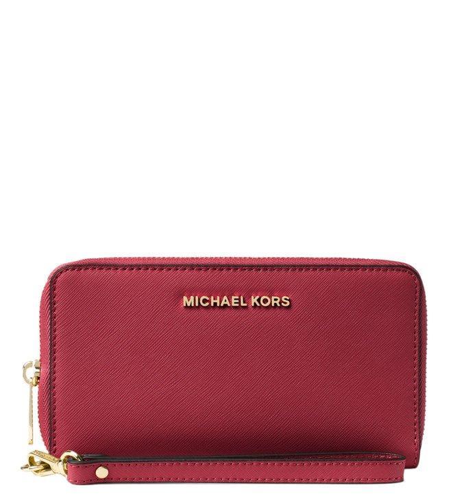 cf8b081534a559 Buy Michael Michael Kors Jet Set Travel Burnt Red Small Wristlet for ...