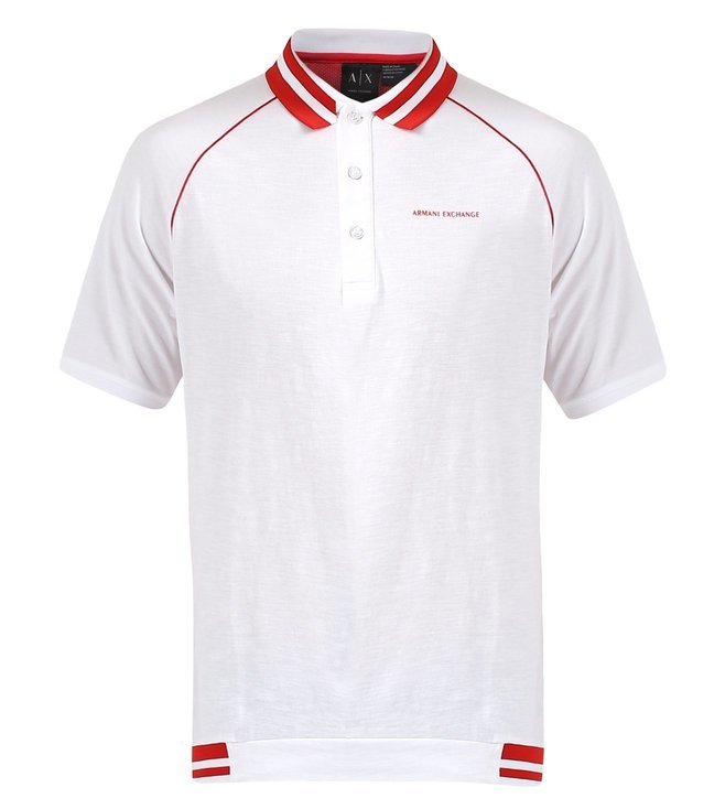 07ab292d3 Buy Armani Exchange White Textured Comfort Fit Polo T Shirt for Men ...