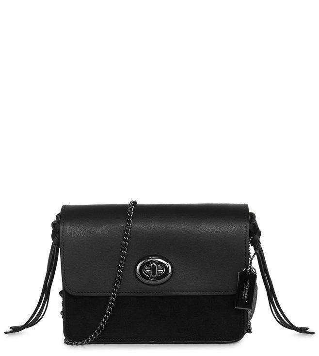 878be54b38f8 Buy Coach Turnlock Chain Dark Black Star Bowery Crossbody Bag for ...