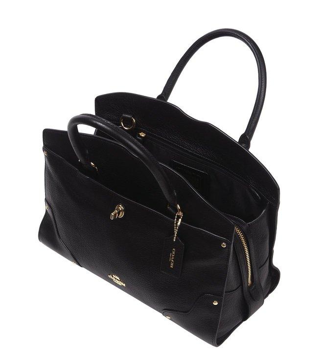 Buy Coach Mercer 30 Light Black Grain Leather Satchel Bag for Women ... 85d5d6303b009