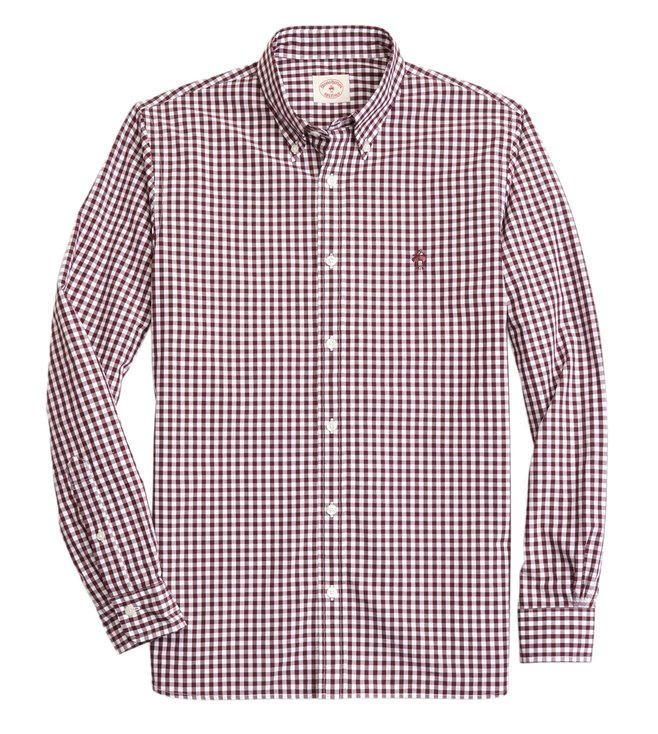 3084d175 Buy Brooks Brothers Red Fleece Burgundy Gingham Sport Shirt for Men ...