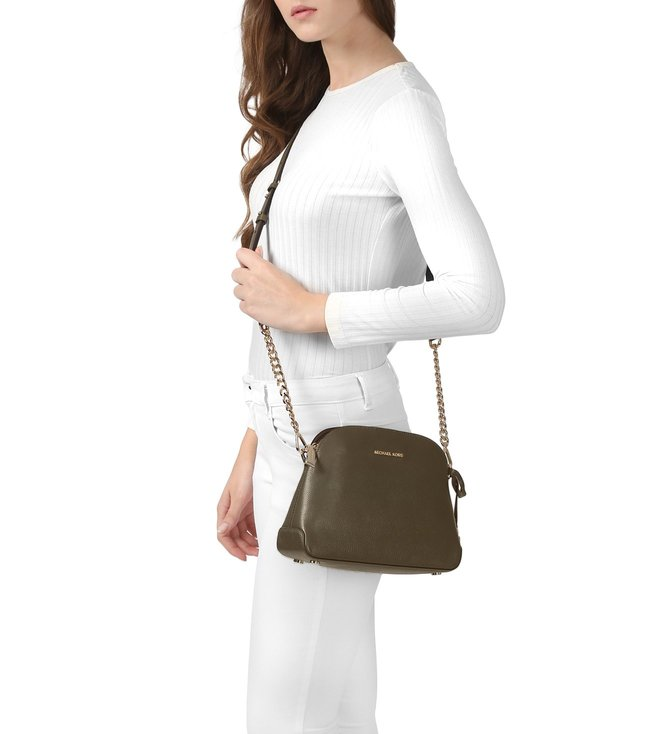 ea07a20afced Buy Michael Michael Kors Mercer Olive Medium Dome Crossbody bag for ...
