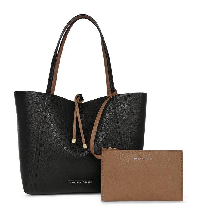 fc42f84c09 Added to Bag. Armani Exchange Black   Camel Tan Medium Reversible Tote Bag