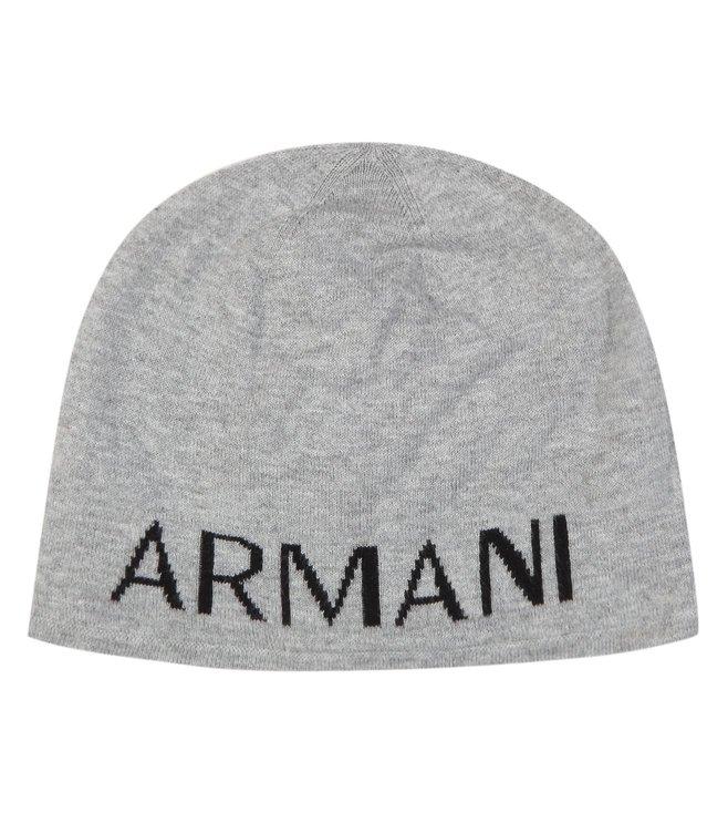 Armani Exchange Alloy Heather Bc06 Knit Logo Print Beanie