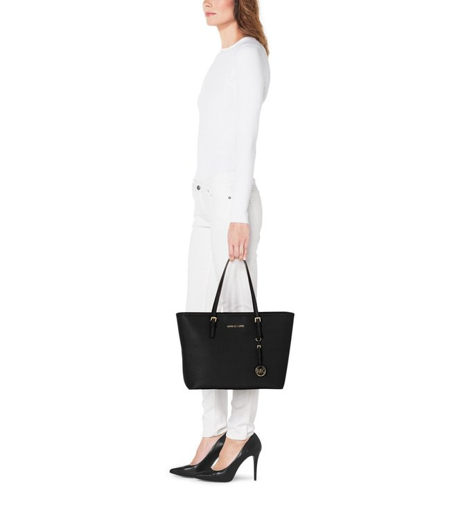dd75c38ed77b Buy Michael Kors Jet Set Travel Medium Black Tote Bag For Women At ...