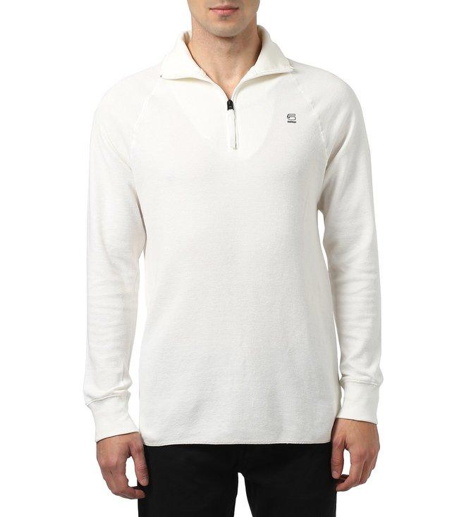 c77c9138e35 Buy G-Star RAW Jirgi Half-Zip White T-Shirt for Men Online   Tata ...