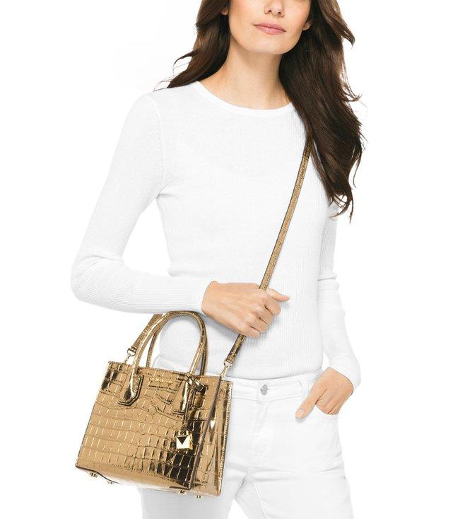8d85d73d53c6eb Buy Michael Michael Kors Gold Mercer Medium Cross Body Bag for Women ...