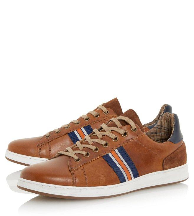 Dune London Tan-Leather Tag Sneaker