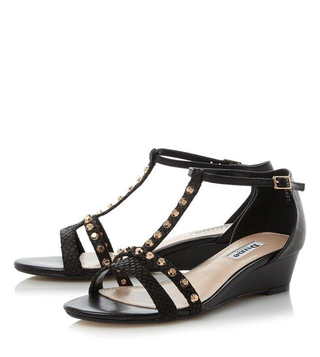 Dune London Black Leather Khala T Strap Sandals