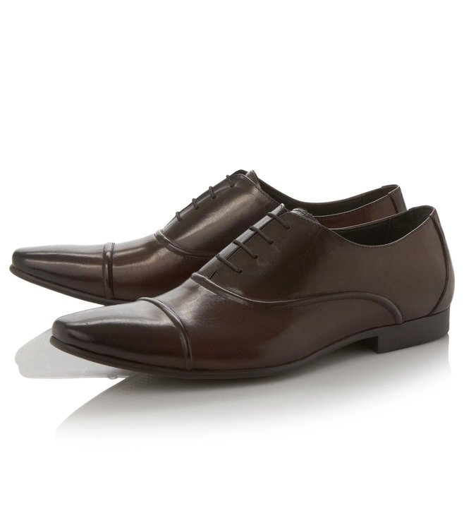Dune London Brown Leather Academy Oxford Shoes