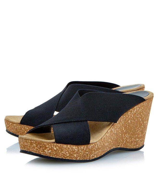 Dune London Black Fabric Kendle Slide Wedge Sandal