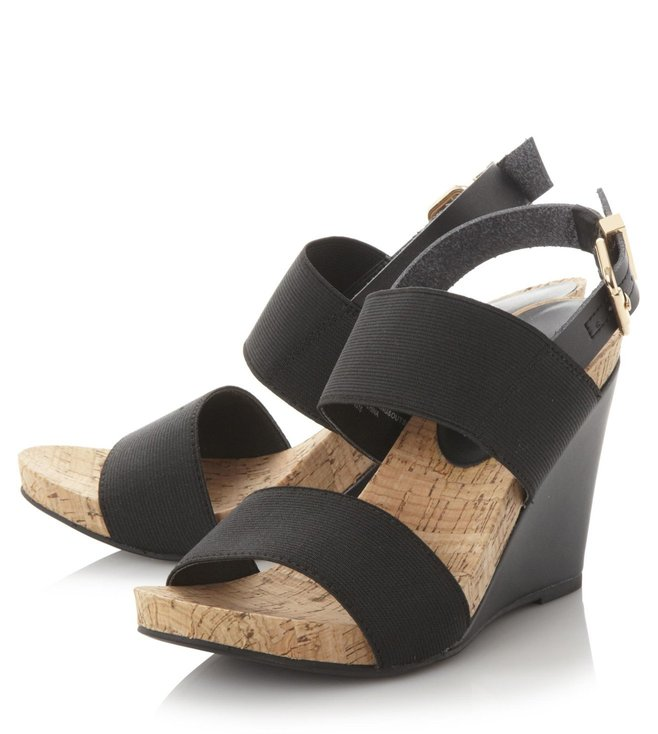 Dune London Black Synthetic Kailee Back Strap Wedge Sandal