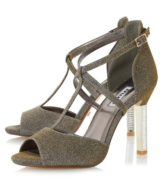 Dune London Gold Metallic Fabric Melodee Cross Strap Sandals