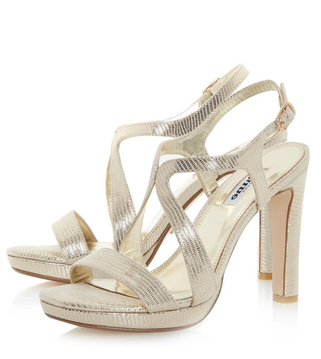 Dune London Gold Maya Cross Strap Sandals