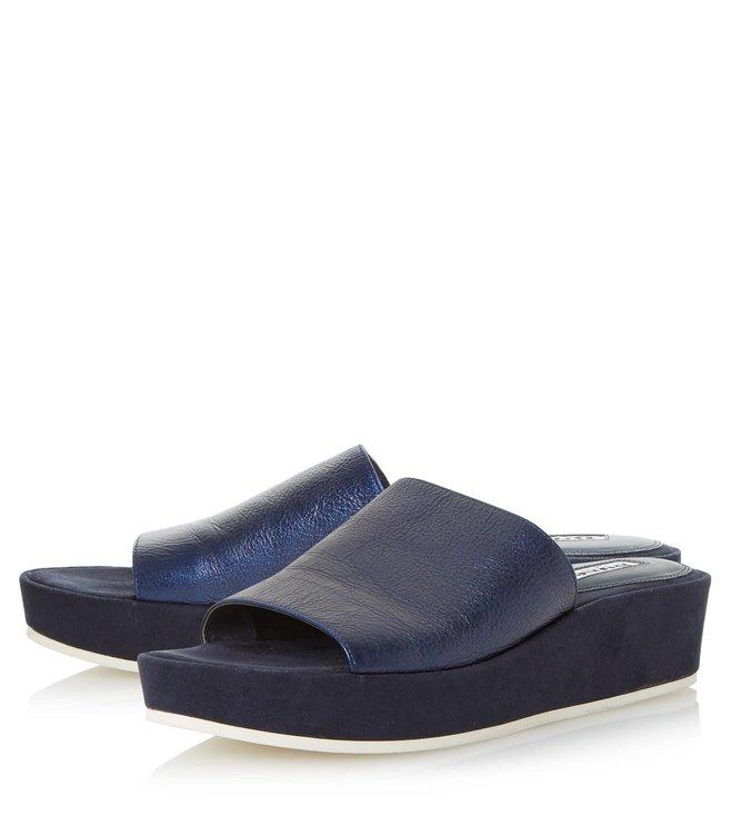 Dune London Navy Metalic Kallie Mule Sandals