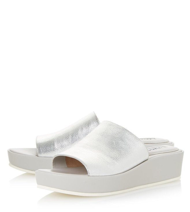 Dune London Silver Leather Kallie Mule Sandals