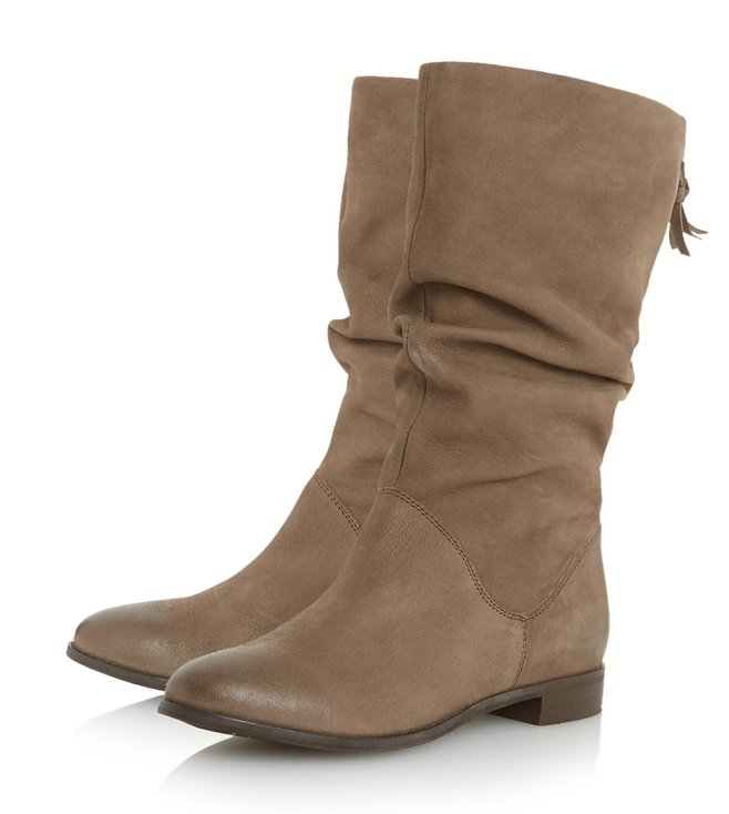 Dune London Taupe Leather Rosalind Cowboy Boot