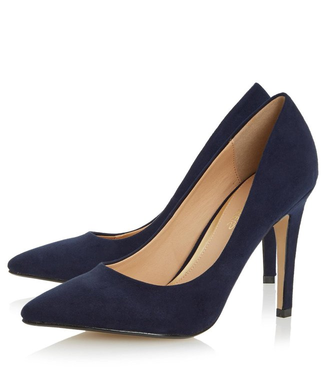 Dune London Navy Micro Fibre Addyson Pump Shoes