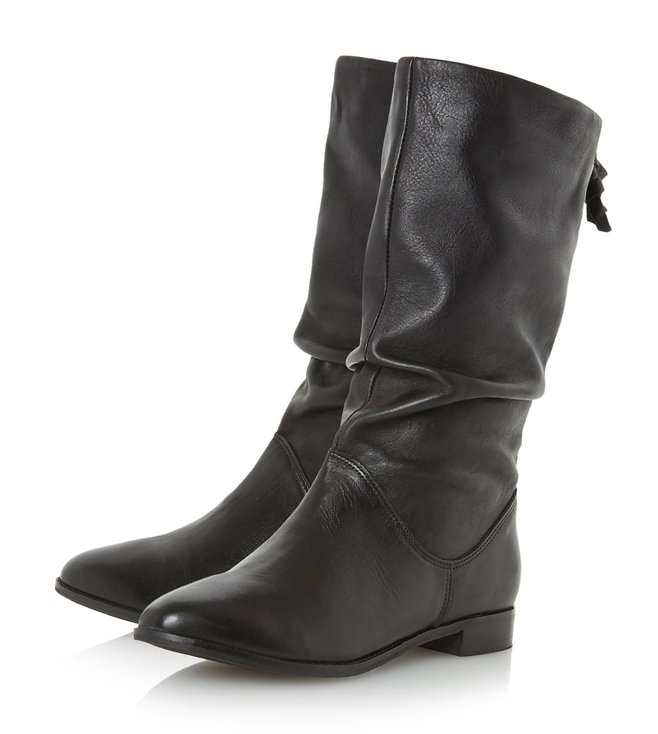 Dune London Black Leather Rosalind Cowboy Boot