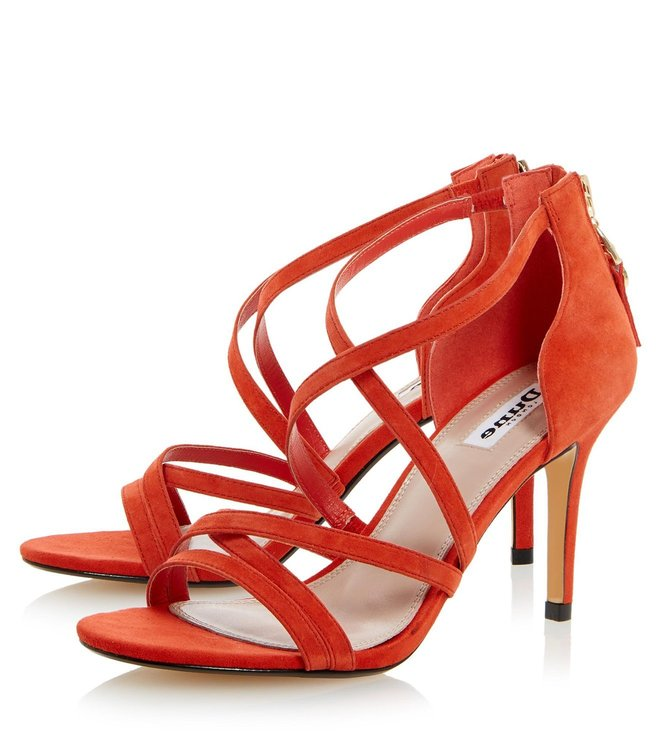 Dune London Orange Suede Malibu Cross Strap Sandals