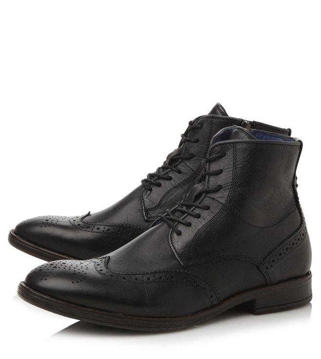 Dune London Dark Grey Leather Cobbler Brogue Boot