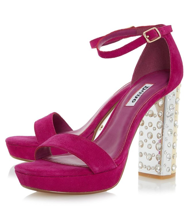 Dune London Fuchsia Suede Mercurie Ankle Strap Sandals