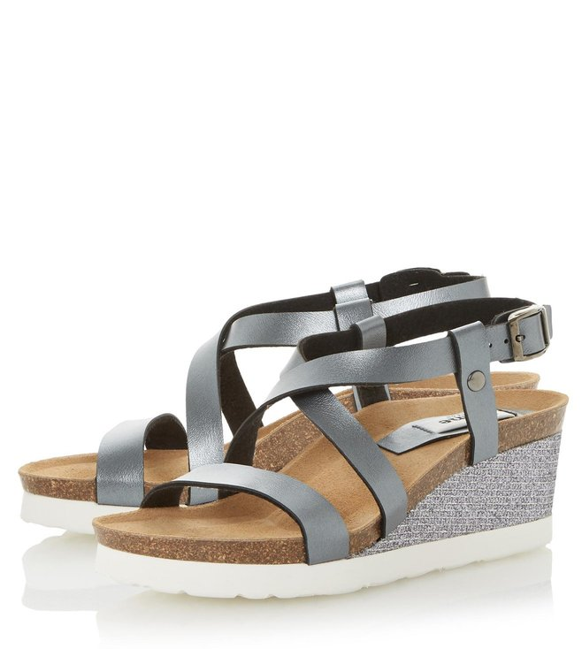 Dune London Pewter Metallic Katya Cross Strap Wedge Sandal
