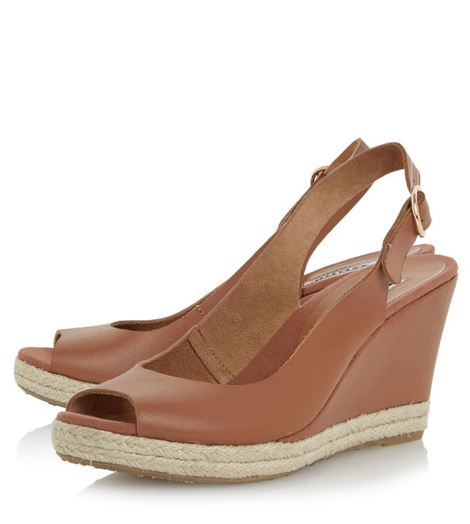 Dune London Tan Leather Klick Sling Back Wedge Sandal