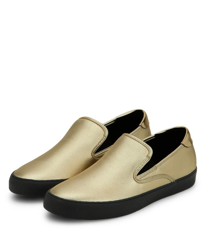 Armani Exchange Gold Metallic Slip On Sneakers