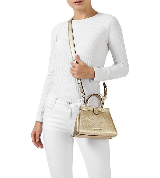 cf8ddd684411 Buy MICHAEL Michael Kors Gold Gramercy Frame Small Satchel for Women ...