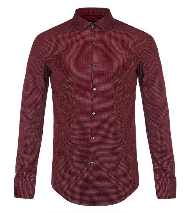 Hugo Boss Dark Red Slim Fit Jenno Formal Shirt