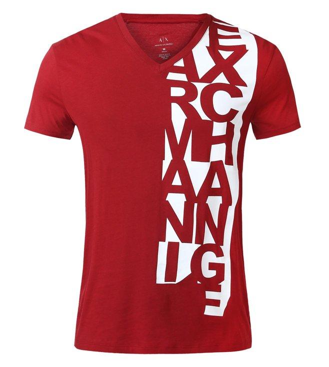 09e3fdae Buy Armani Exchange Rhubarb Vertical Print T-Shirt for Men Online ...