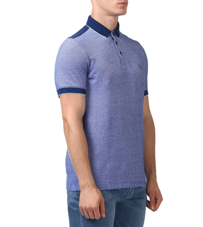 c3d477ed Buy Armani Exchange Blue Pique Polo T-Shirt for Men Online @ Tata ...