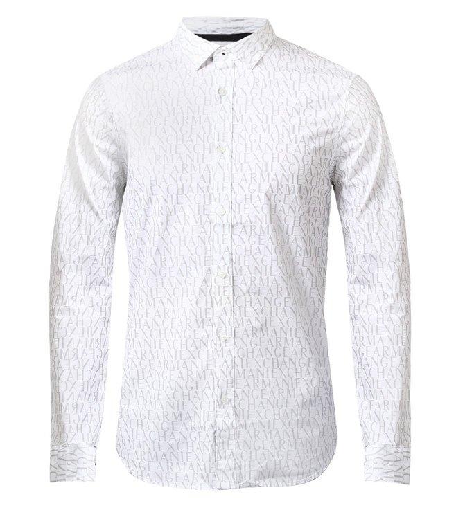 8410c5d75a503 Buy Armani Exchange White Slim Fit Tonal Logo Shirt for Men Online ...