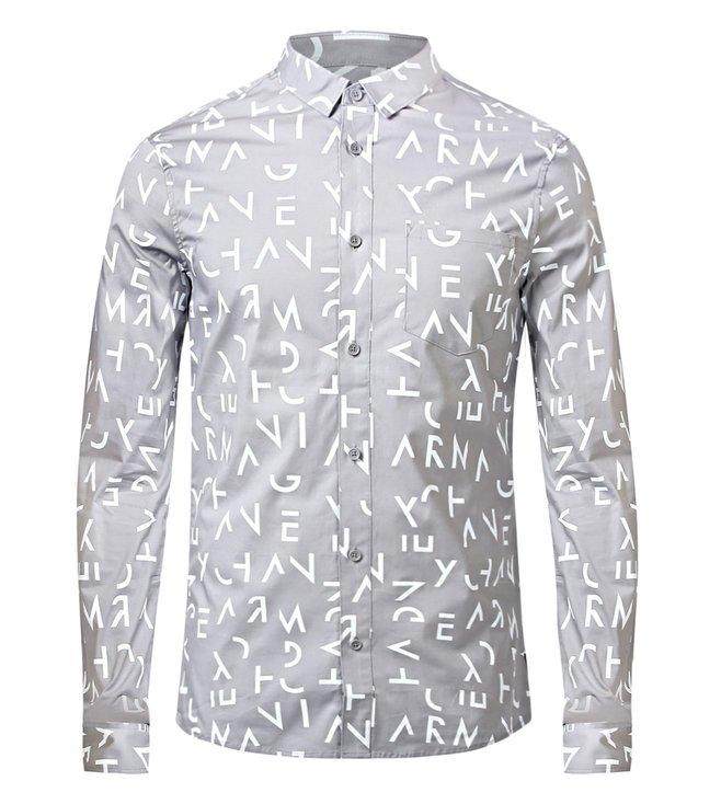 4b3110a1 Buy Armani Exchange Grey Slim Fit Letter Print Shirt for Men Online ...