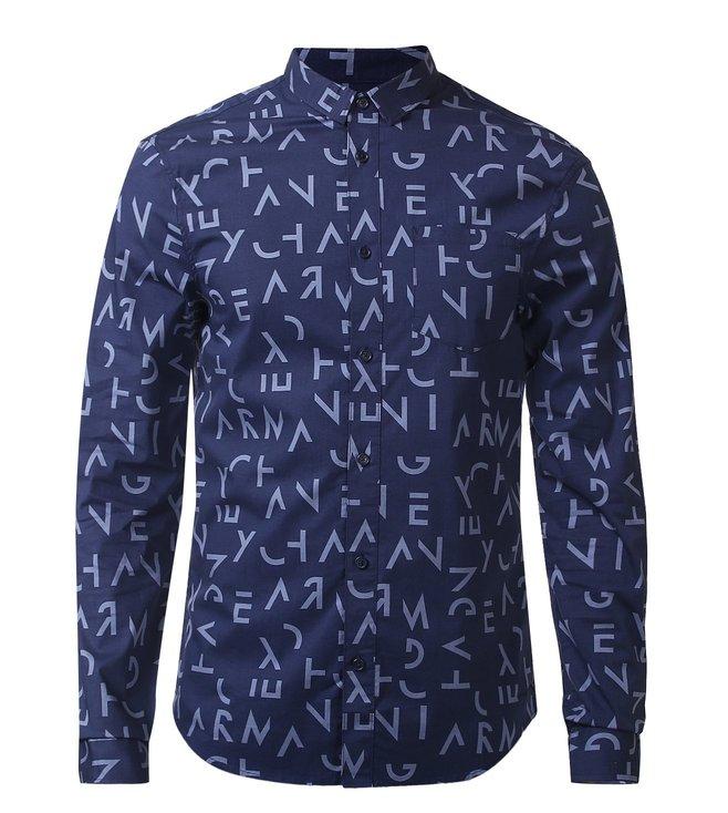 f1b1586c Buy Armani Exchange Blue Slim Fit Letter Print Shirt for Men Online ...