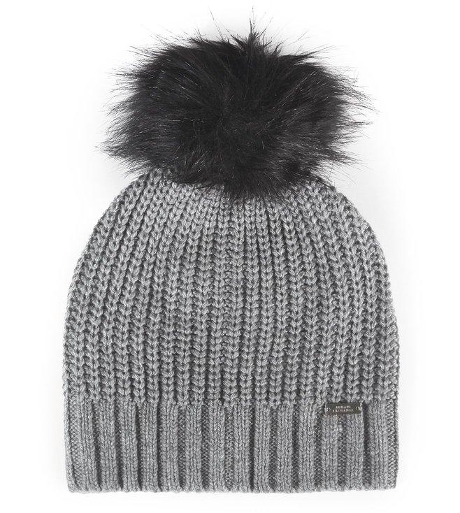 Buy Armani Exchange Grey Knit Pom-Pom Black Beanie Cap for Women ... 60c7176d8b1