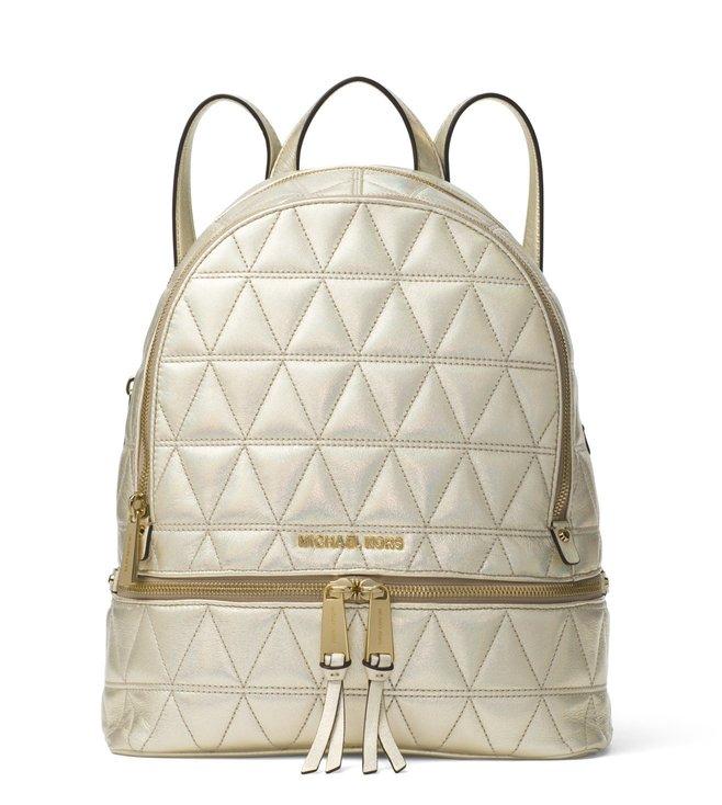 54a65e96af2d Added to Bag. MICHAEL Michael Kors Pale Gold Rhea Zip Medium Leather  Backpack