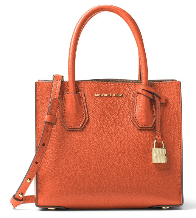 b1c546c7b9 Added to Bag. Michael Michael Kors Mercer Orange Leather Crossbody Bag
