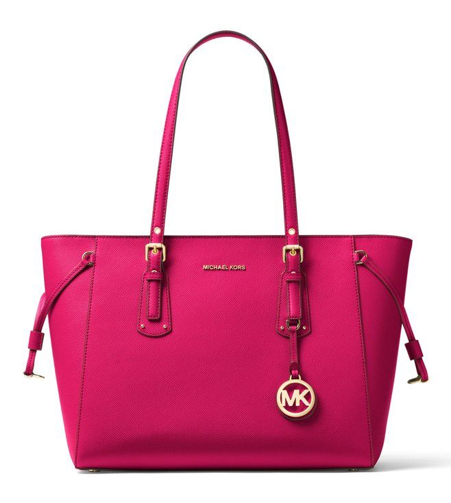 MICHAEL Michael Kors Voyager Ultra Pink Medium Leather Totes