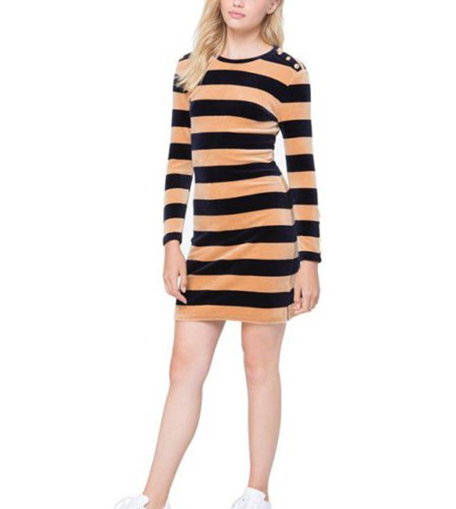Juicy Couture. Juicy Couture Blue Stretch Velour Striped Fitted Dress ... 3b05967e3