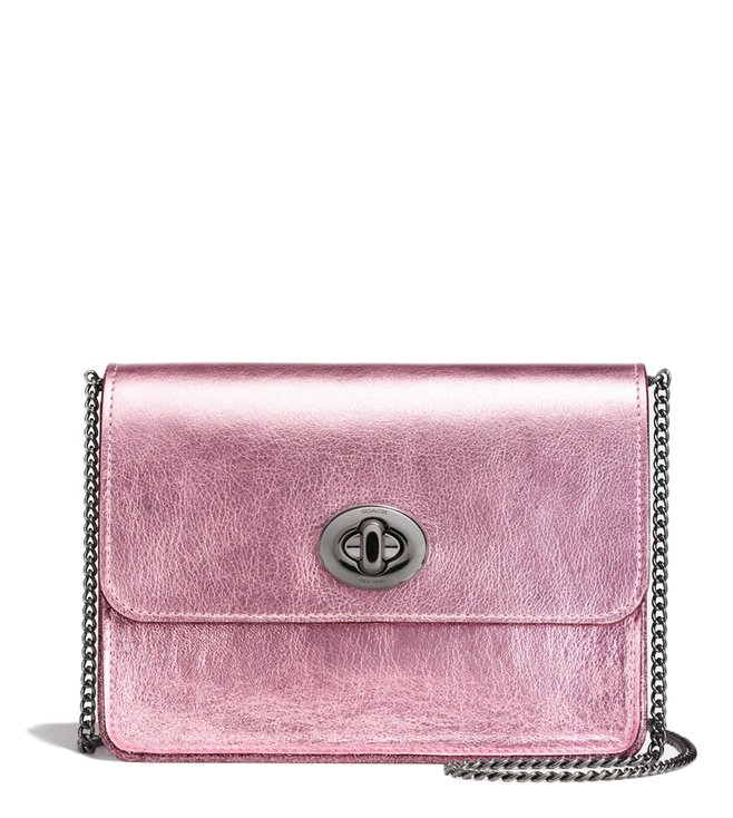 Coach Dark Gunmetal Metallic Blush Bowery Crossbody Bag