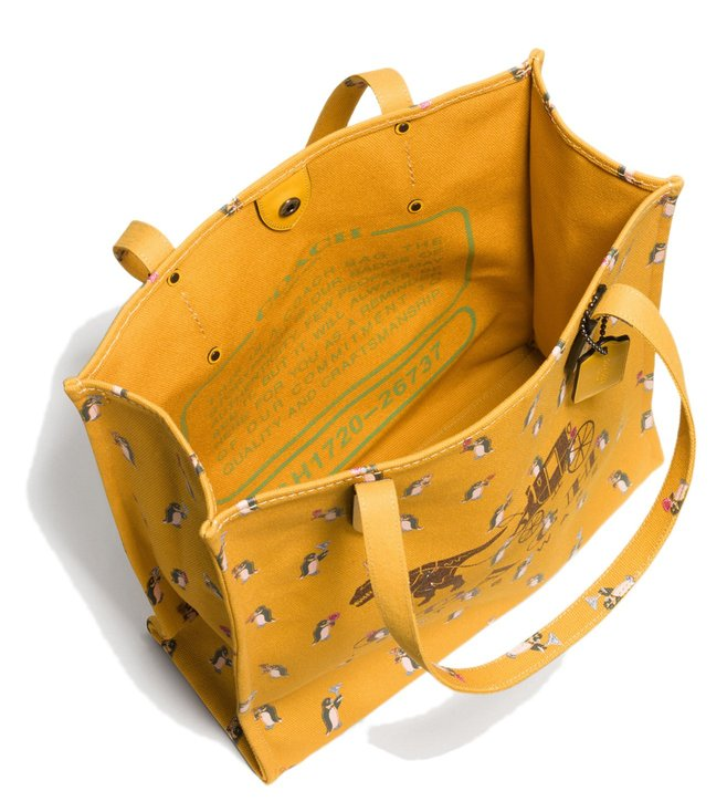 Coach Yellow Carriage Canvas Tote