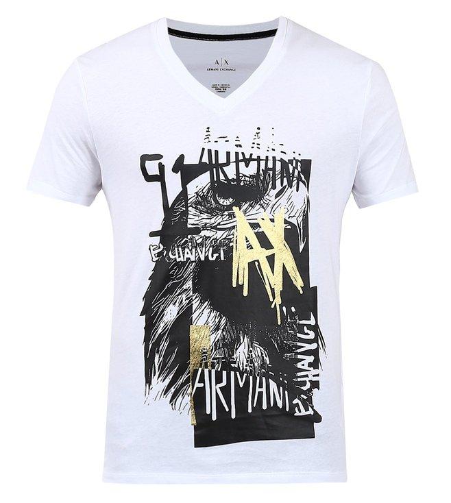 dc4cb342c9c Buy Armani Exchange White Graphic Print V Neck Slim Fit T-Shirts for ...