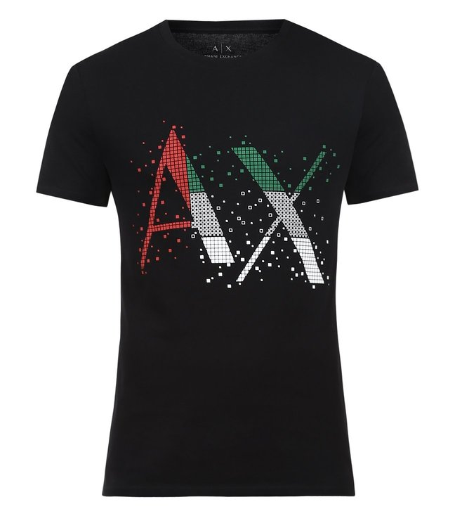 Armani Exchange Black Digi Logo Print Slim Fit T-Shirts