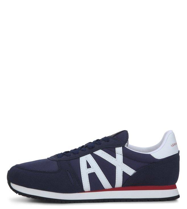 5875ad64b Buy Armani Exchange Navy Peony Retro Logo Sneakers for Men Online ...