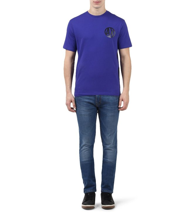 Armani Exchange Spectrum Blue Logo Print Regular Fit T-Shirts