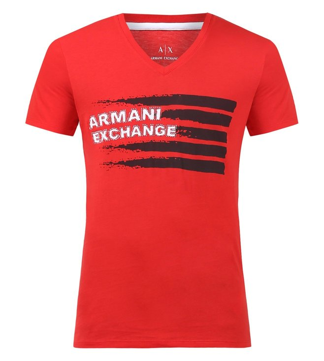 bbb1321fc Added to Bag. Armani Exchange Absolute Red Graphic Print V Neck T-Shirts